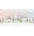 brussels belgium city skyline in paper cut style vector image vector image