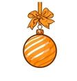 Christmas balls with gold ribbon and bows vector image