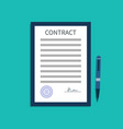 contract with signature document agreement vector image vector image
