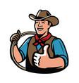cowboy with rope symbol ranch vector image