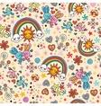 cute bunnies birds rainbows seamless pattern vector image
