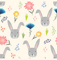 cute cartoon pattern with rabbits dots and flower vector image