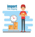 delivery worker with scale vector image vector image