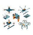 different isometric drones and vector image