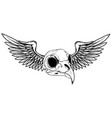 draw skull with wings tattoo vector image vector image