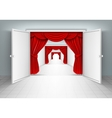 entrance doors with red curtains vector image vector image