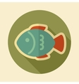Fish retro flat icon with long shadow vector image vector image