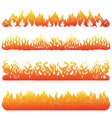 flame and fire set in vintage style hand drawn vector image