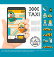 flat taxi online service concept vector image vector image