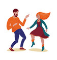 funky man in sweater and woman in dress dancing vector image vector image