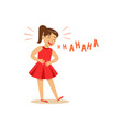 girl in a red dress laughing out loud and holding vector image