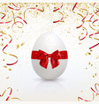 greeting card with easter egg and golden confetti vector image