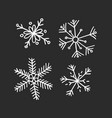 hand drawn set of vintage snowflakes white on vector image vector image