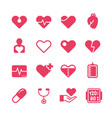 heart diagnosis and cardiac treatment icons vector image vector image