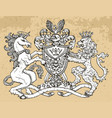 heraldic emblem with unicorn and lion beast vector image