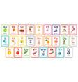kids abc cards letter study set english alphabet vector image vector image