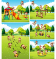 Lots of monkeys playing on playground vector image vector image