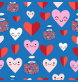 lovely seamless festive pattern funny hearts vector image vector image