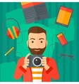 Man holding camera vector image vector image