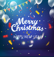 merry christmas and happy new year blue vector image