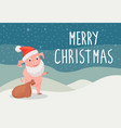 merry christmas holiday postcard with piggy vector image vector image