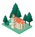 mini tree and castle building isometric vector image