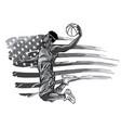monochromatic basketball player on american flag vector image
