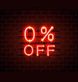 neon 0 off text banner night sign vector image vector image