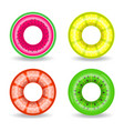 realistic rubber swimming rings with exotic vector image vector image