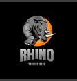 rhino mascot emblem logo vector image vector image
