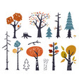 set children drawings - cute forest and vector image vector image