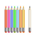 set colored pencils icon design vector image
