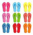 Set of colored slippers for the beach