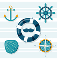 Set of five nautical vector image vector image