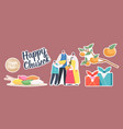 set stickers chuseok tteok korean tradition theme vector image vector image