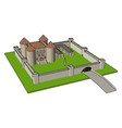 simple a medieval castle with fortified wall vector image vector image