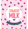 Strawberry milk graphic design with stylish label vector image vector image