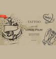 vintage tattoo symbols monochrome template vector image vector image