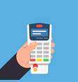 payment by bank card payment terminal in the vector image