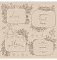 romantic set of floral frames with couple vector image