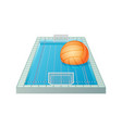 3d water polo pool with goals and orange ball vector image vector image