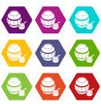 barrel honey icons set 9 vector image vector image