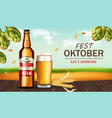 beer bottle and mug realistic mock up vector image vector image