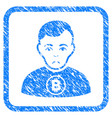bitcoin man framed stamp vector image vector image