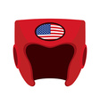 Boxing helmet with the flag of America Red vector image vector image