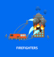 cartoon firefighting in city vector image vector image