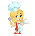 cartoon girl cooking vector image vector image