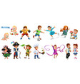 children funny cartoon characters 3d icons set vector image