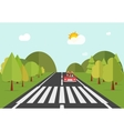 Crosswalk path road with car automobile stopped vector image
