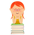 cute little girl leans on stack of books vector image